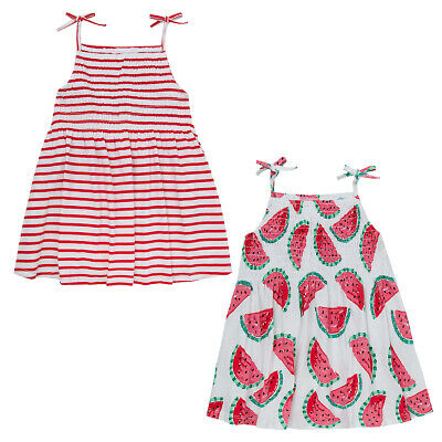 Girls Printed Summer Dress (Ages 2-8yrs) Shirring Sleeveless Cami Tunic Outfit