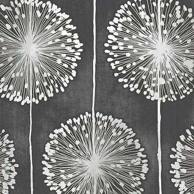 Muriva Dandelion Floral Wallpaper Black / Grey