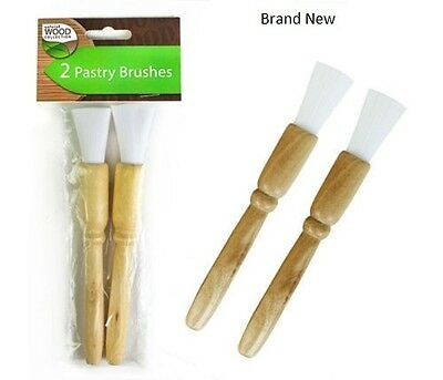 Pastry Brushes Pack of 2, Natural Wood Handle Baking Basting Glazing Cooking BBQ
