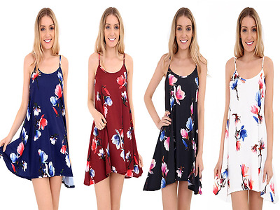 New Women Ladies Printed Cami Flared Strappy Dress Top Swing Dress Size 8-26