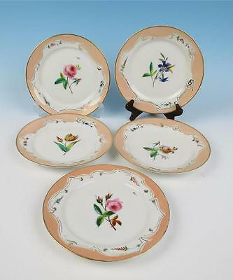 Set 5 Antique Paris Porcelain Cabinet Plates Hand Painted Flower Pink Roses Old