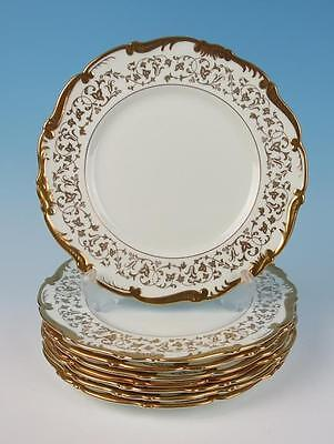 Set of 8 Coalport LADY ASHLEY Dinner Plates Gold on White Bone China Porcelain