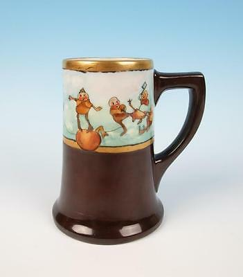 Antique Artist Signed Palmer Cox Brownies Porcelain Tankard Hand Painted Limoges