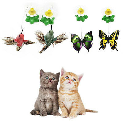 F Electric Rotating Dog Cat Toy Flower Butterfly Birds Steel Wire Teaser Pet Cat