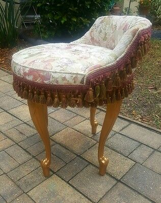 VTG. FRENCH PROVINCIAL Hollywood Regency LOUIS XI SWIVEL Wood Vanity CHAIR SEAT