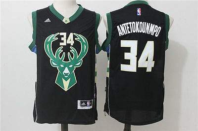 NEW Milwaukee Bucks #34 Giannis Antetokounmpo Swingman Basketball Jersey Black