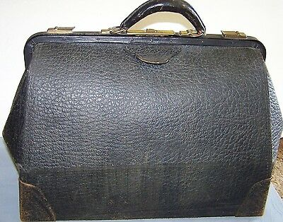 VINTAGE Authentic Black Embossed Leather Doctor's Medical Bag W/Lining-No Key