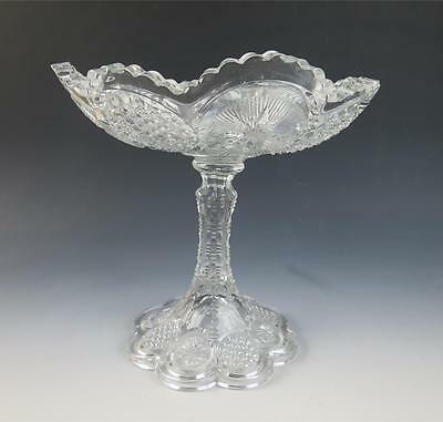 "Vintage EAPG US Glass Tall Compote THE STATES / Cane & Star Medallion 8.5"" Bowl"
