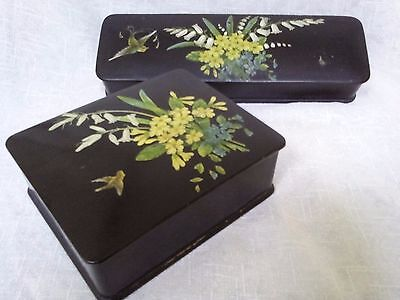 Japanese lacquered box hand painted jewelry box arts crafts brush box bird flora