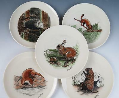 "Set 15 HAND PAINTED Signed Small Animal 6.25"" Cabinet Bread Plates Porcelain"