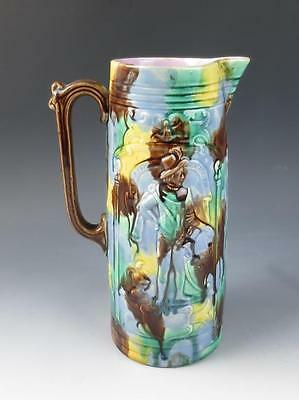 Antique French Majolica Cavaliers Pitcher Jug Relief Soldiers Art Pottery Angels
