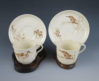 DOULTON BURSLEM Rare Antique BRITISH BIRDS Brown Transferware Cup & Saucer Royal