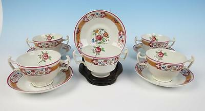 5 Cauldon Aesthetic Bouillon Cups & Saucers Antique English Porcelain BWM Tea