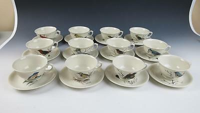 Set of 12 HAND PAINTED Signed Bird Cup & Saucers Porcelain Birds Tea Artist