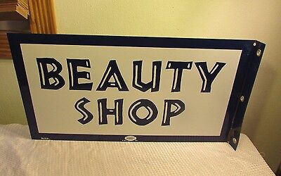 MINTY Beauty Shop Flanged 2 Sided Enamel Porcelain Sign Original William Marvy
