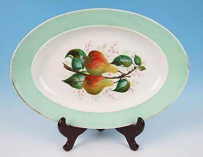 "Antique Old Paris Porcelain 20"" Oval Platter Hand Painted Light Mint Green Fruit"