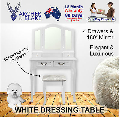 White Dressing Table Vanity Set With Tri Fold Mirror And Embroided Stool Drawer