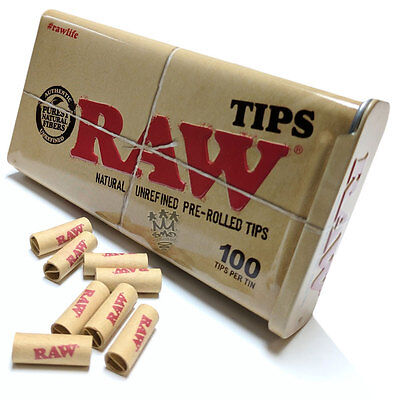 RAW Pre Rolled Tips Tin - King Size Stash Tin With Pre Rolled Roach Filters