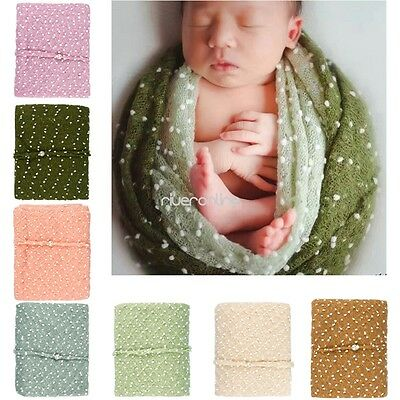 Newborn Baby Girls Mohair Crochet Soft Wrap Flower Headband Photo Prop Blankets