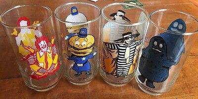 4 Vintage McDonald's Glasses (Grimace, Hamburglar, Ronald, & Big Mac