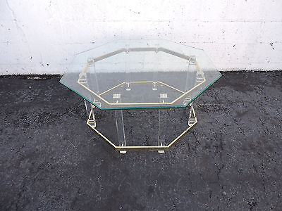Mid-Century Modern Octagonal Glass-Top Lucite & Brass Coffee Table 8163