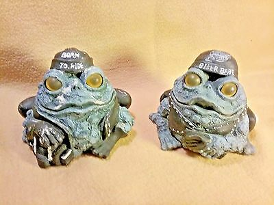 """2007 Toad Hollow """"Born to Ride"""" & """"Biker Babe""""  4 1/2"""" Biker Toad Figurines"""