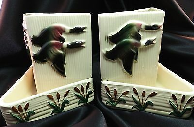 Pair Vintage Shawnee Pottery Ducks & Cat Tails Bookend Planters #4000