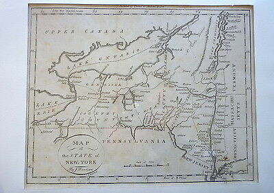 Original Antique 1796 Thomas & Andrews Map Engraving New York Morse Geography NR