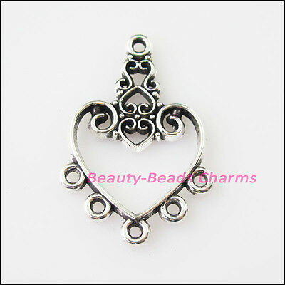 6 New Heart Flower Tibetan Silver Tone Charms Pendants Connectors 21x31mm
