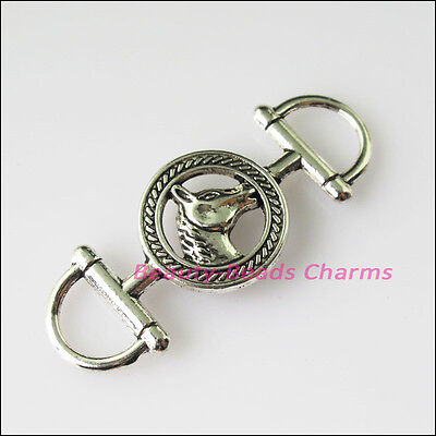 4 New Round Animal Horse Connectors Tibetan Silver Tone Charms Pendant 16.5x43mm
