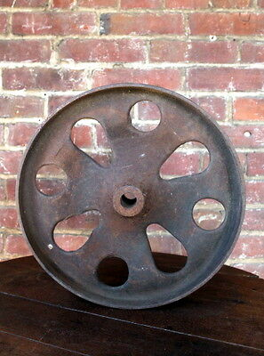 """Antique 13 1/2"""" Industrial Cast Iron Factory Cart Wheel Lineberry Coffee Table"""