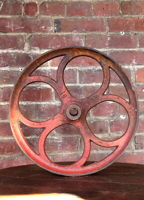 """Antique 14 13/4"""" Industrial Cast Iron Factory Cart Wheel Lineberry Coffee Table"""
