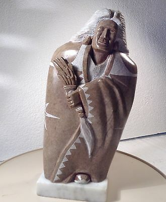 "Terry Pettigrew Signed Native American  Alabaster Sculpture 9""Tall"
