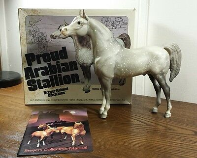 Vintage 70's Breyer Horse #213 Dapple Gray Proud Arabian Stallion With Box PAS