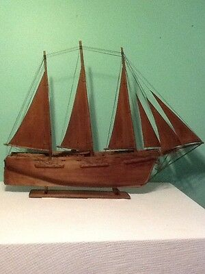 One Of A Kind Antique Hand Carved Sail boat/ship LOOK!!