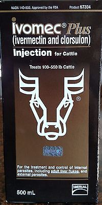 Ivomec Plus Injectable for Cattle 500ml Ivermectin and clorsulon