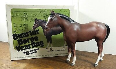 Vintage 70's Breyer Horse #101 Liver Chest Quarter Yearling Chalky With Box Nice