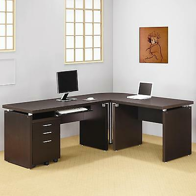 Cappuccino Finish Home Office L Shaped Desk With Return