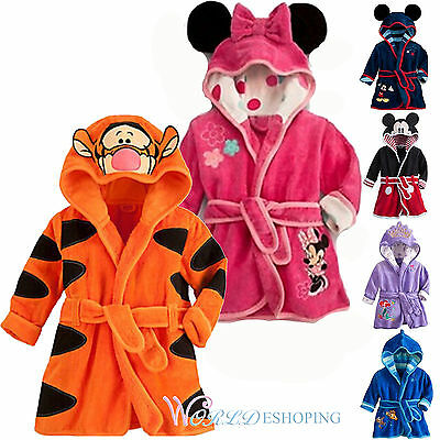 Kids Boys Girl Warm Bath Robe Gown Nightwear Sleepwear Homewear Pj's Coat Jacket