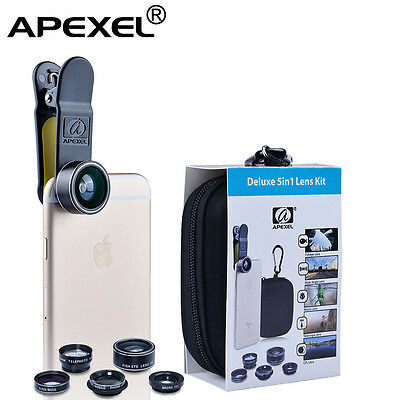 Cell phone lens Apexel 5 in 1 HD Camera Kit 198° Fisheye +0.63x Wide Angle+15x