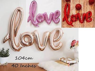 Large Love Foil Balloon Wedding Engagement Valentines Script Handwriting 40inch