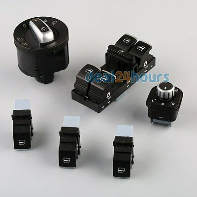 6x Set Chrome Window Headlight Mirror Switch for VW Passat B6 CC Golf MK6 Jetta