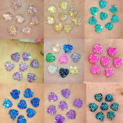 50PCS Resin Heart Flatback Scrapbooking For Phone/Wedding DIY Craft AB Color New