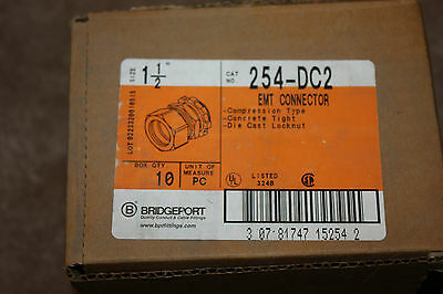 "Bridgeport  254-DC2  1 1/2"" EMT Compression Connector, Lot of 10, NEW In Box"