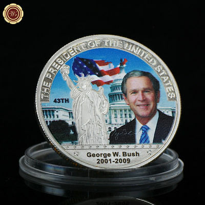 WR 43th President of US George W. Bush Color Silver Custom American Coin Values