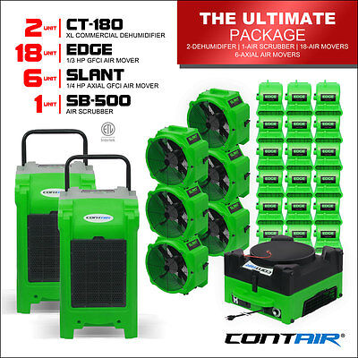 Water Damage Commercial Dehumidifiers and Air Movers and Air Scrubbers in Green