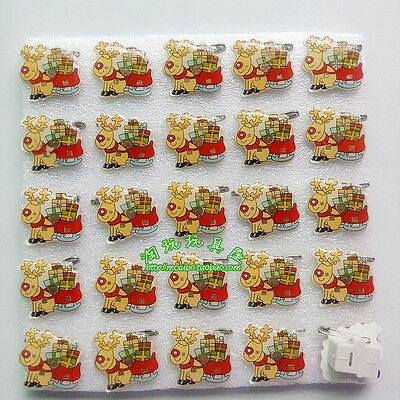Lot Christmas Reindeer Flashing LED Light Up Badge/Brooch Pins Party Gifts Q132