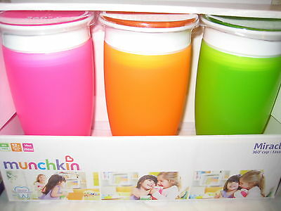 Munchkin BPA Free 3 Pack 10 Ounce Miracle 360 Degree Cup - Pink, Orange , Green