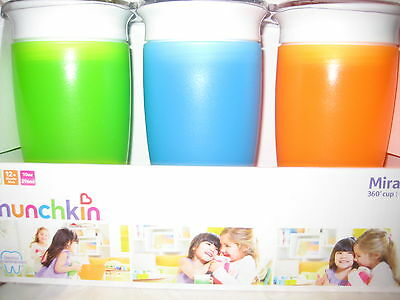 Munchkin BPA Free 3 Pack 10 Ounce Miracle 360 Degree Cup - blue, Orange , Green