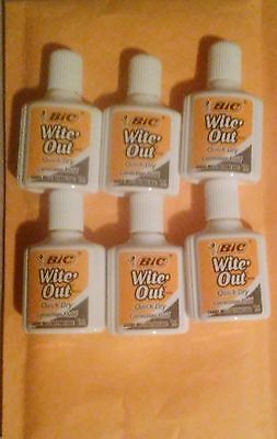 (6) BIC Wite Out Quick Dry Correction Fluid White Out Foam Brush .7oz